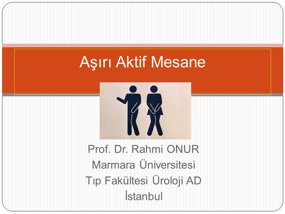 Prof. Dr. Rahmi ONUR Marmara Üniversitesi Tıp Fakültesi Üroloji AD İstanbul Aşırı Aktif Mesane