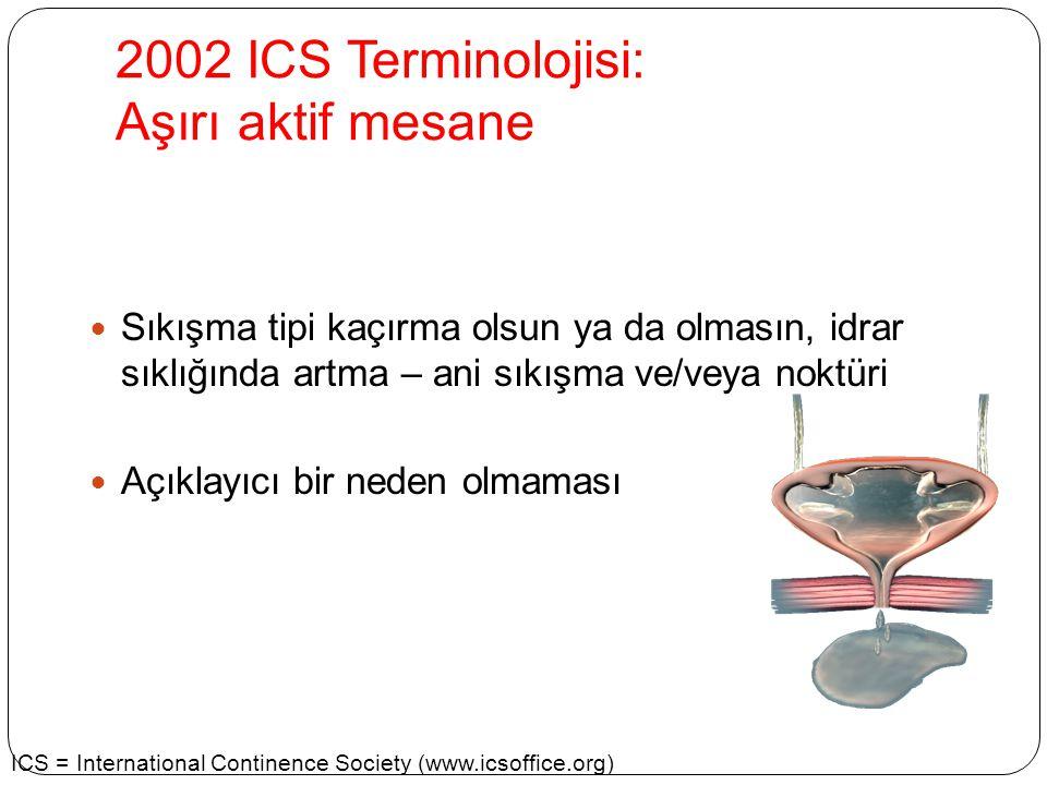 2002 ICS Terminolojisi: Aşırı aktif mesane Sıkışma tipi kaçırma olsun ya da olmasın, idrar sıklığında artma – ani sıkışma ve/veya noktüri Açıklayıcı b