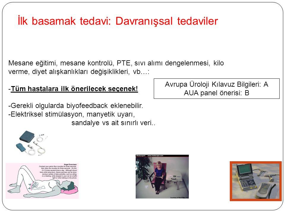 İlk basamak tedavi: Davranışsal tedaviler Mesane eğitimi, mesane kontrolü, PTE, sıvı alımı dengelenmesi, kilo verme, diyet alışkanlıkları değişiklikle