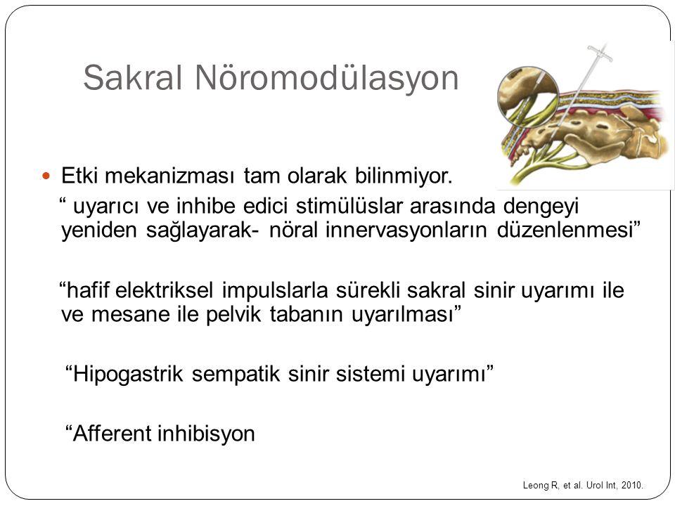 """Sakral Nöromodülasyon Etki mekanizması tam olarak bilinmiyor. """" uyarıcı ve inhibe edici stimülüslar arasında dengeyi yeniden sağlayarak- nöral innerva"""