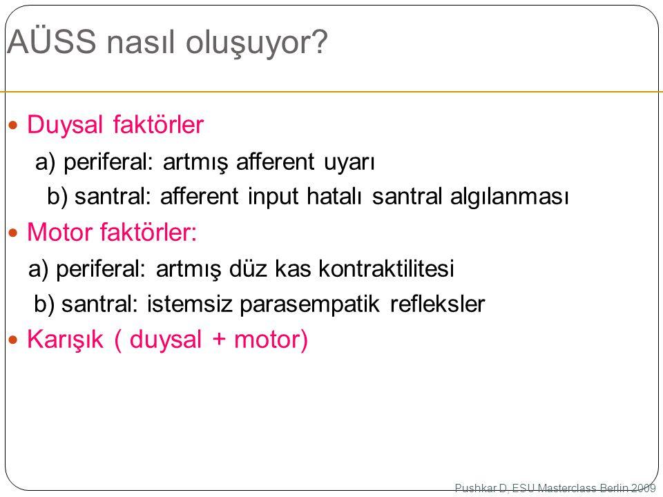 AÜSS nasıl oluşuyor? Duysal faktörler a) periferal: artmış afferent uyarı b) santral: afferent input hatalı santral algılanması Motor faktörler: a) pe