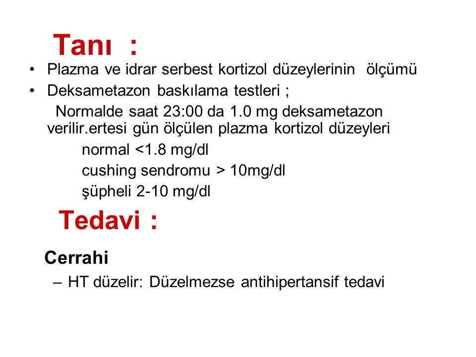 Tanı : Plazma ve idrar serbest kortizol düzeylerinin ölçümü Deksametazon baskılama testleri ; Normalde saat 23:00 da 1.0 mg deksametazon verilir.ertes