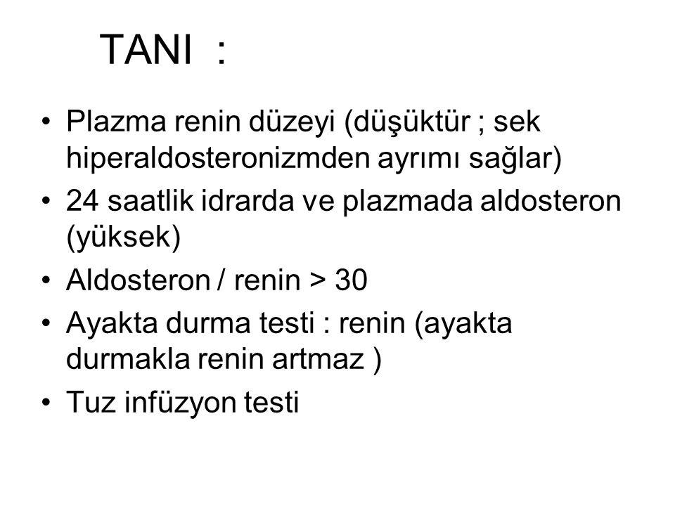 TANI : Plazma renin düzeyi (düşüktür ; sek hiperaldosteronizmden ayrımı sağlar) 24 saatlik idrarda ve plazmada aldosteron (yüksek) Aldosteron / renin