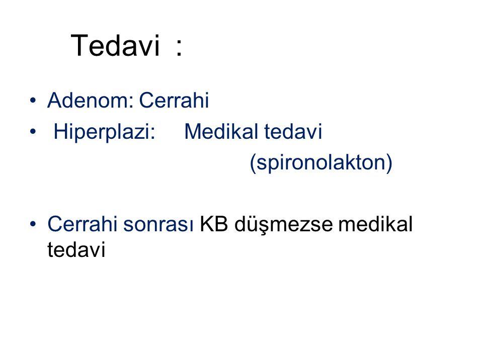 Tedavi : Adenom: Cerrahi Hiperplazi: Medikal tedavi (spironolakton) Cerrahi sonrası KB düşmezse medikal tedavi