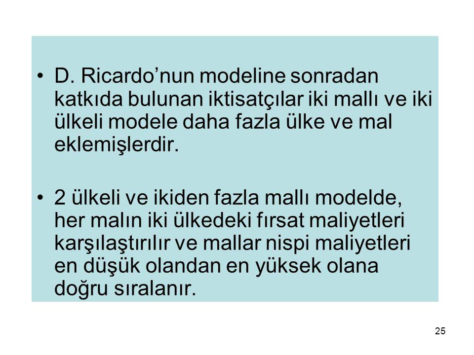 25 D. Ricardo'nun modeline sonradan katkıda bulunan iktisatçılar iki mallı ve iki ülkeli modele daha fazla ülke ve mal eklemişlerdir. 2 ülkeli ve ikid