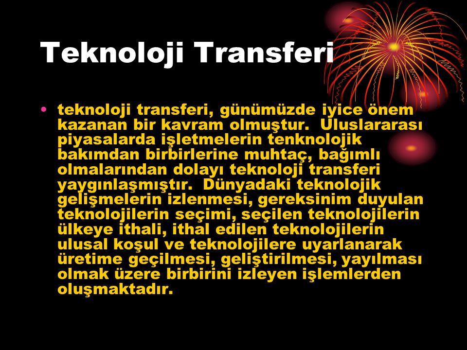 Teknoloji Transferi teknoloji transferi, günümüzde iyice önem kazanan bir kavram olmuştur.