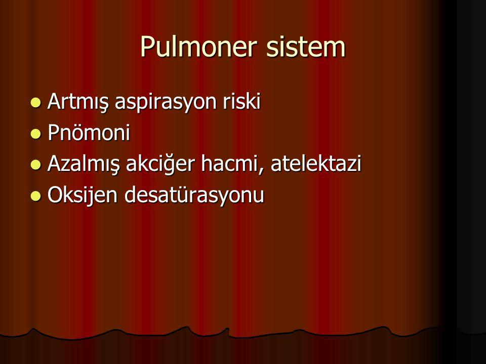 Pulmoner sistem Artmış aspirasyon riski Artmış aspirasyon riski Pnömoni Pnömoni Azalmış akciğer hacmi, atelektazi Azalmış akciğer hacmi, atelektazi Ok
