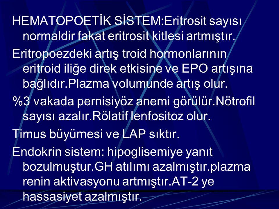 HEMATOPOETİK SİSTEM:Eritrosit sayısı normaldir fakat eritrosit kitlesi artmıştır. Eritropoezdeki artış troid hormonlarının eritroid iliğe direk etkisi