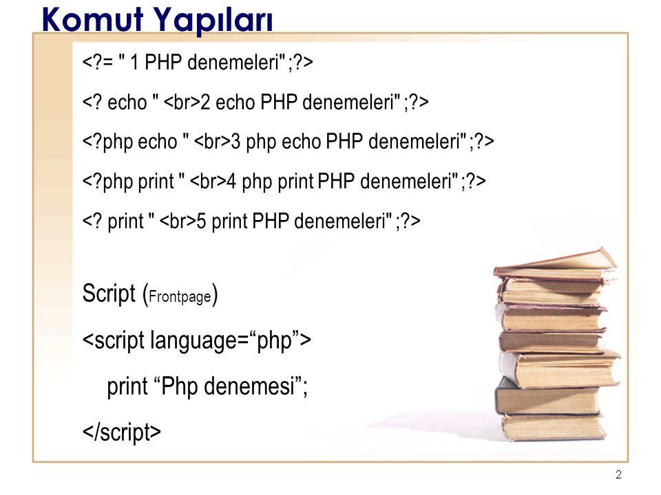 3 Komut Yapıları <?php $tarih = Haziran 26, 2007 ; ?> Bugünün tarihi Yorum <?php // Başlık : ilk PHP scriptim // Yazar : Erman echo Bu bir PHP programı ; ?>