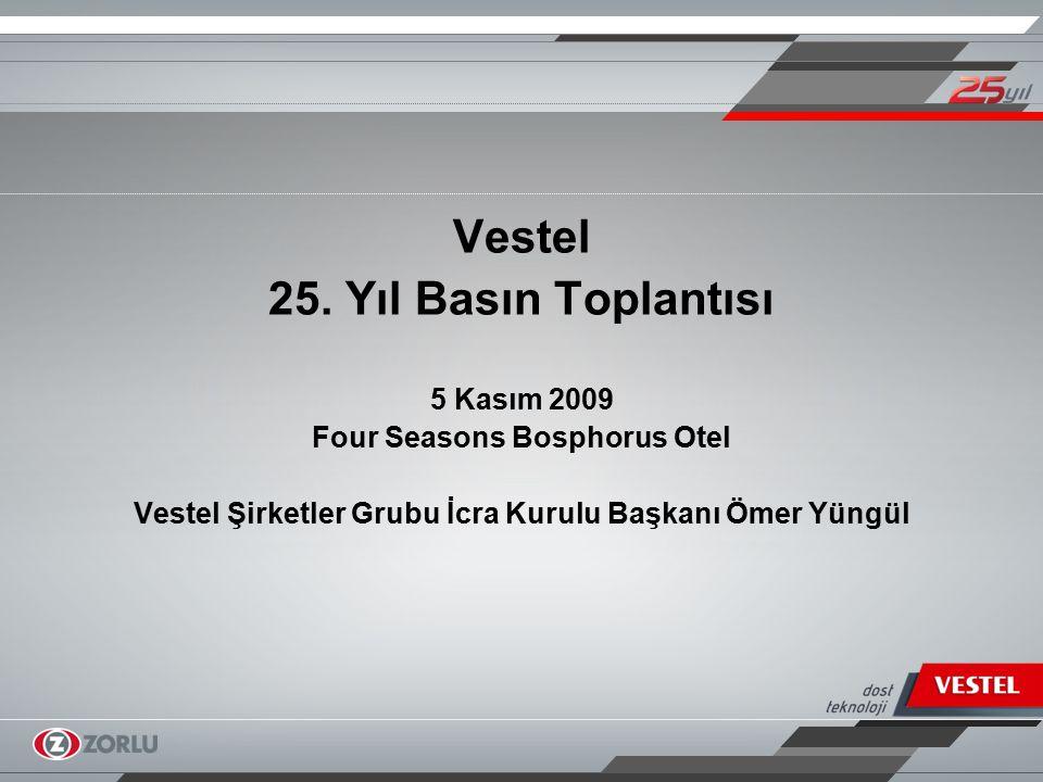 Sektörün ihracat yıldızı, Vestel 127 ülkeyi kapsayan geniş ihracat haritası Her yıl artan ihracat hacmi: Yıllık ortalama yüzde 29 artış 11 yıldır elektronik sektöründe Türkiye'nin ihracat şampiyonu Türkiye'nin toplam TV ihracatından yüzde 80 pay TİM'in 2008 ihracat şampiyonları sıralamasında 2,2 milyar dolarlık ihracatla hem sektöründe hem de grup dış ticaret firmaları arasında birincilik 2008'de beyaz eşya ve elektronikte 2.8 milyar dolar konsolide ihracat 2009'un ilk 6 ayında toplam ihracatta yüzde 75 artış Elektronik sektöründe satışta Avrupa üçüncüsü