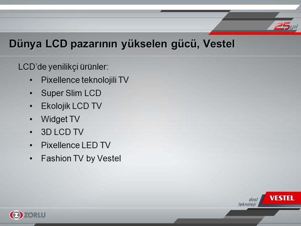LCD'de yenilikçi ürünler: Pixellence teknolojili TV Super Slim LCD Ekolojik LCD TV Widget TV 3D LCD TV Pixellence LED TV Fashion TV by Vestel Dünya LC