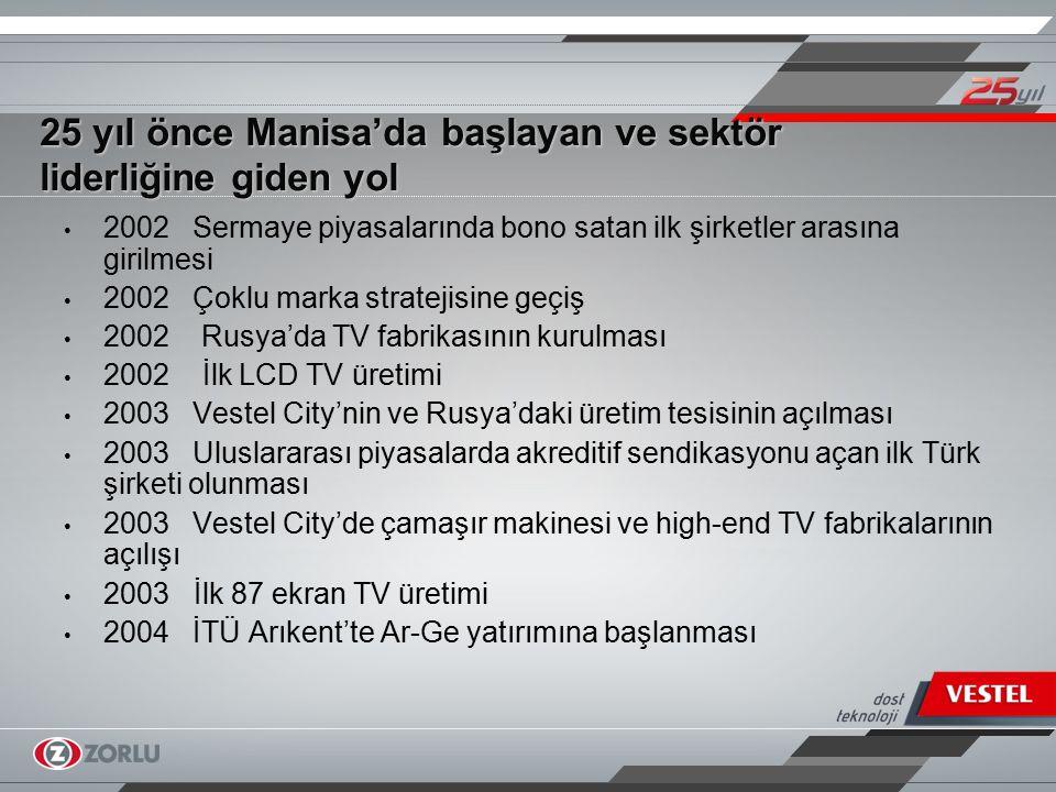 25 yıl önce Manisa'da başlayan ve sektör liderliğine giden yol 2004 TV üretiminde 20 milyona erişilmesi 2004 İlk medya oynatıcılı TV üretimi 2005 Ar-Ge mühendis sayısının 700'e yükseltilmesi 2005 İlk wireless TV üretimi 2005 Konsept Mağaza uygulamasına geçiş 2006 Avrupa'nın tek dizüstü bilgisayar üretim tesisinin açılışı ve Türkiye'nin ilk dizüstü bilgisayarının üretimi 2006 Vestel Beyaz Eşya'nın halka açılması 2007 LCD-Plazma TV, bulaşık makinesi, fırın ve ikinci buzdolabı fabrikalarının açılması 2007 Sektöründe Turquality programına alınan ilk marka olunması 2007 Pixellence TV üretimi