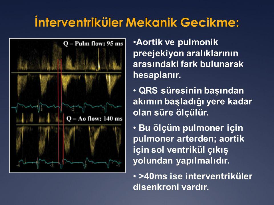 Aortik ve pulmonik preejekiyon aralıklarının arasındaki fark bulunarak hesaplanır.