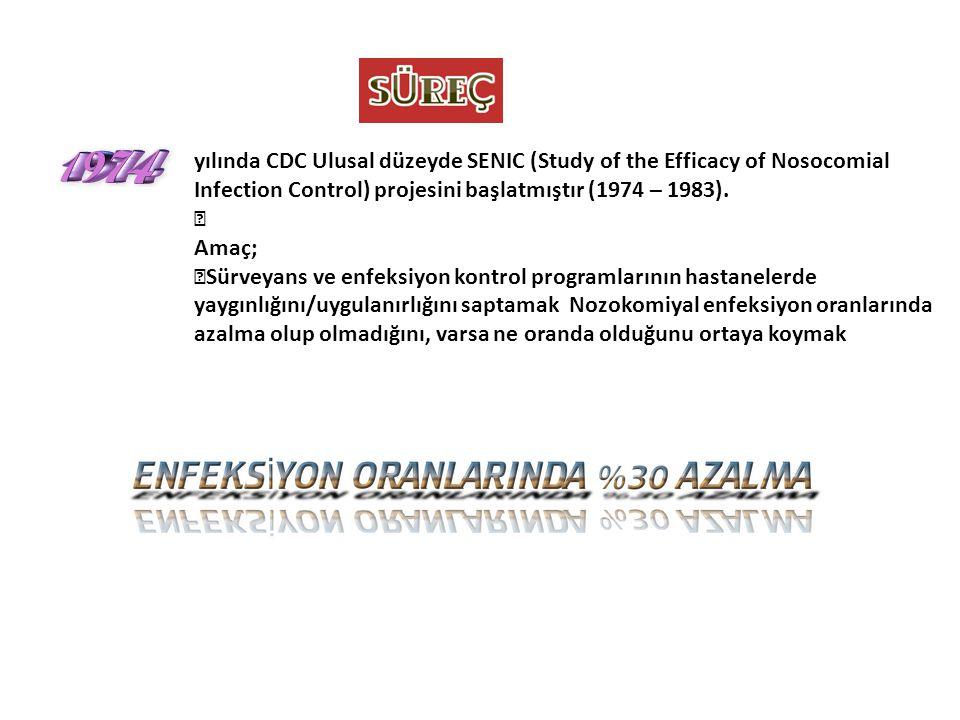 """yılında CDC Ulusal düzeyde SENIC (Study of the Efficacy of Nosocomial Infection Control) projesini başlatmıştır (1974 – 1983). """" Amaç; """"Sürveyans ve e"""