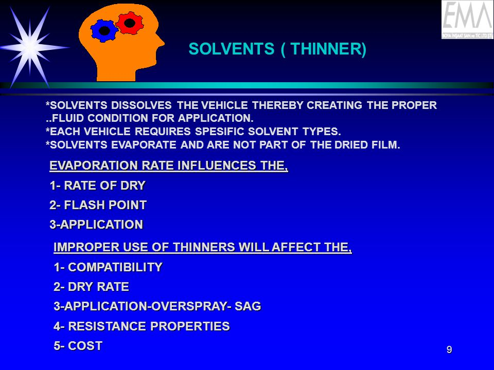 9 SOLVENTS ( THINNER) *SOLVENTS DISSOLVES THE VEHICLE THEREBY CREATING THE PROPER..FLUID CONDITION FOR APPLICATION.