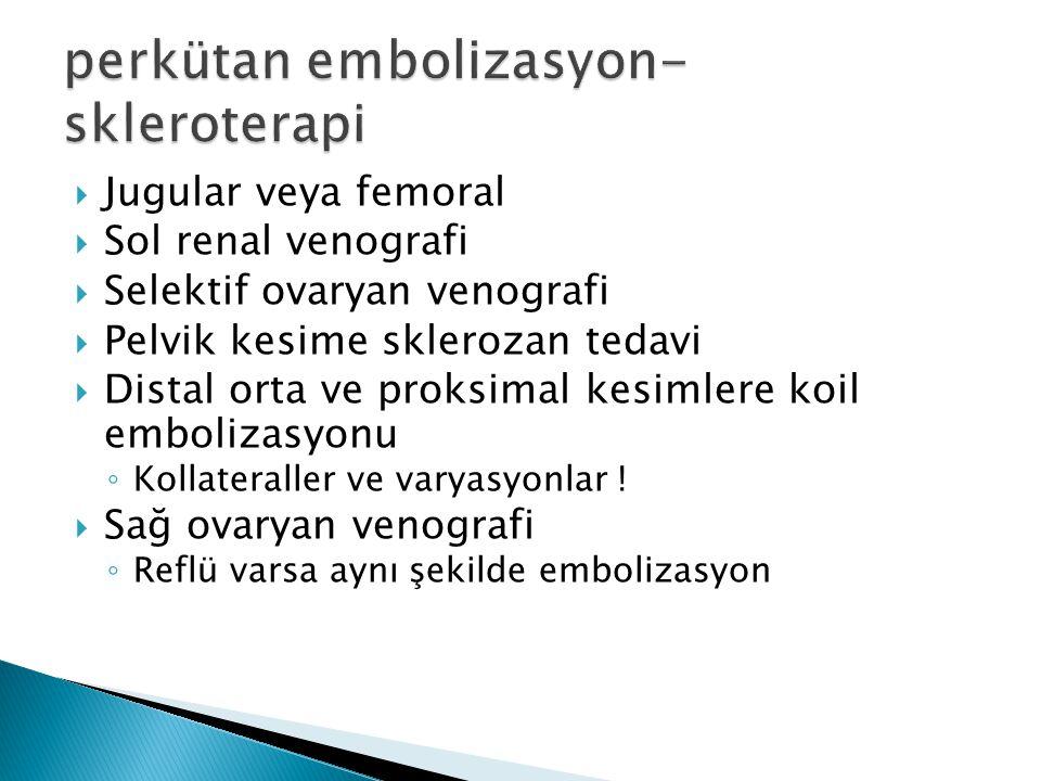  Jugular veya femoral  Sol renal venografi  Selektif ovaryan venografi  Pelvik kesime sklerozan tedavi  Distal orta ve proksimal kesimlere koil embolizasyonu ◦ Kollateraller ve varyasyonlar .