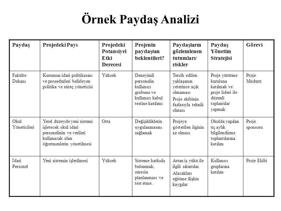 Örnek Paydaş Analizi PaydaşProjedeki PayıProjedeki Potansiyel Etki Derecesi Projenin paydaştan beklentileri.