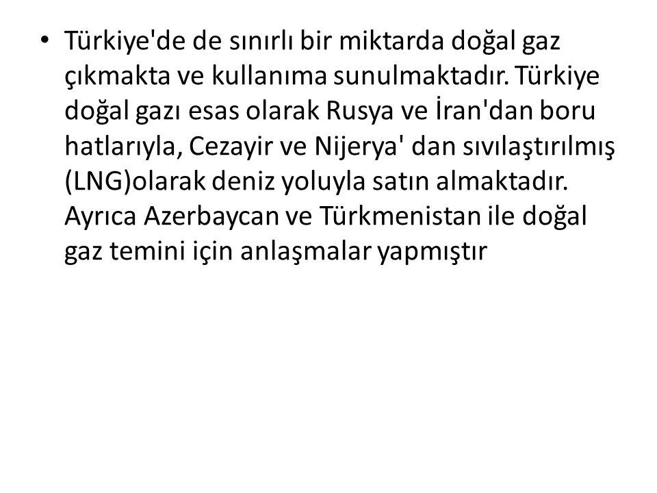 Türkiye'de de sınırlı bir miktarda doğal gaz çıkmakta ve kullanıma sunulmaktadır. Türkiye doğal gazı esas olarak Rusya ve İran'dan boru hatlarıyla, Ce