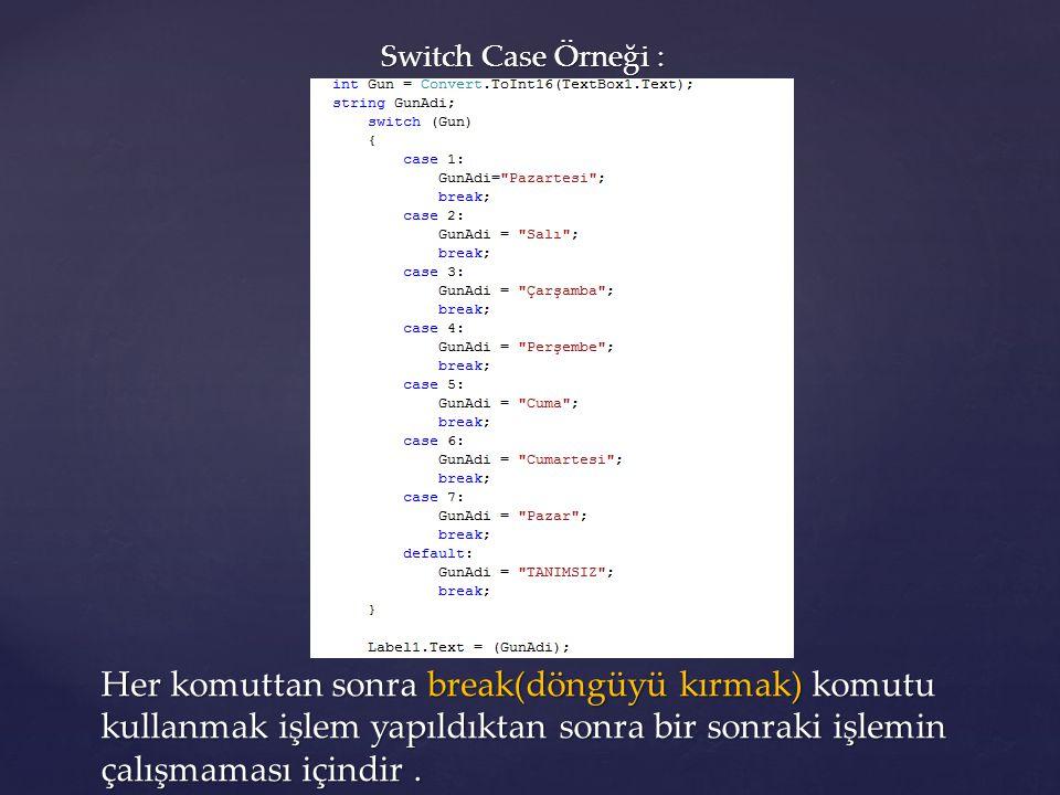Switch Case Örneği : Her komuttan sonra break(döngüyü kırmak) komutu kullanmak işlem yapıldıktan sonra bir sonraki işlemin çalışmaması içindir.