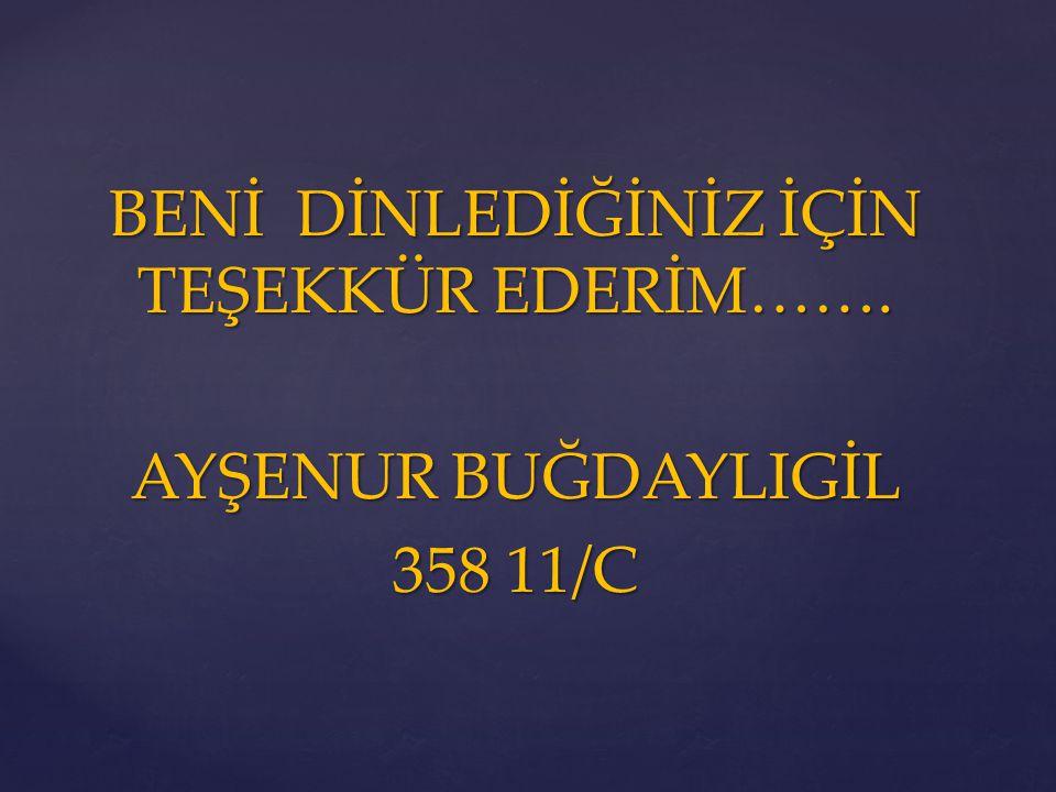 BENİ DİNLEDİĞİNİZ İÇİN TEŞEKKÜR EDERİM……. AYŞENUR BUĞDAYLIGİL 358 11/C