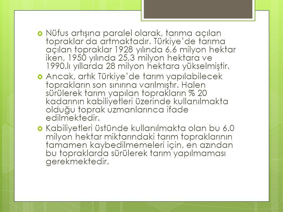  Nüfus artışına paralel olarak, tarıma açılan topraklar da artmaktadır. Türkiye'de tarıma açılan topraklar 1928 yılında 6,6 milyon hektar iken, 1950
