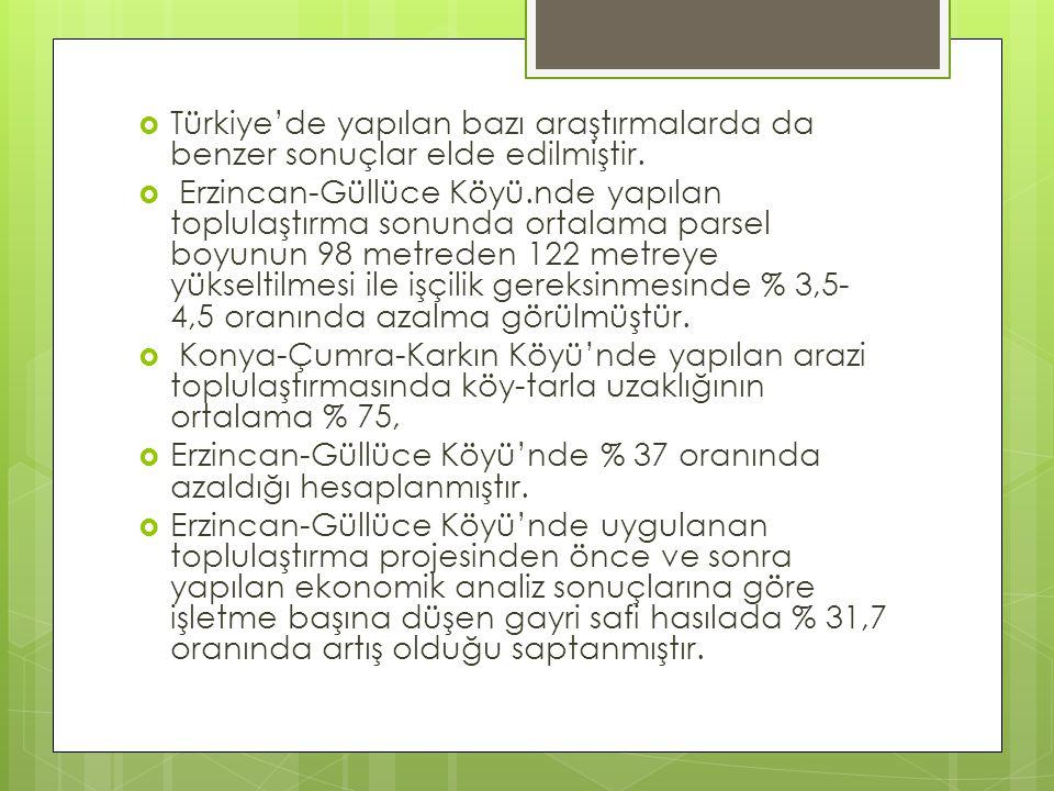  Türkiye'de yapılan bazı araştırmalarda da benzer sonuçlar elde edilmiştir.  Erzincan-Güllüce Köyü.nde yapılan toplulaştırma sonunda ortalama parsel