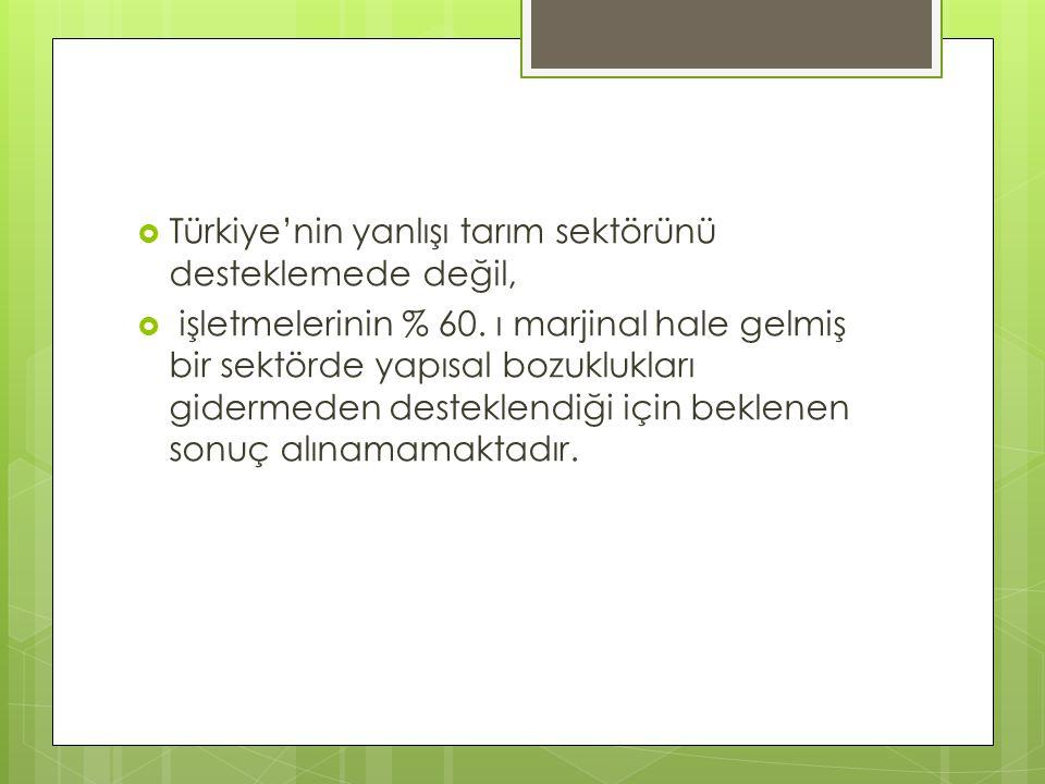  Türkiye'nin yanlışı tarım sektörünü desteklemede değil,  işletmelerinin % 60. ı marjinal hale gelmiş bir sektörde yapısal bozuklukları gidermeden d