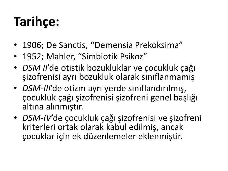 """Tarihçe: 1906; De Sanctis, """"Demensia Prekoksima"""" 1952; Mahler, """"Simbiotik Psikoz"""" DSM II'de otistik bozukluklar ve çocukluk çağı şizofrenisi ayrı bozu"""