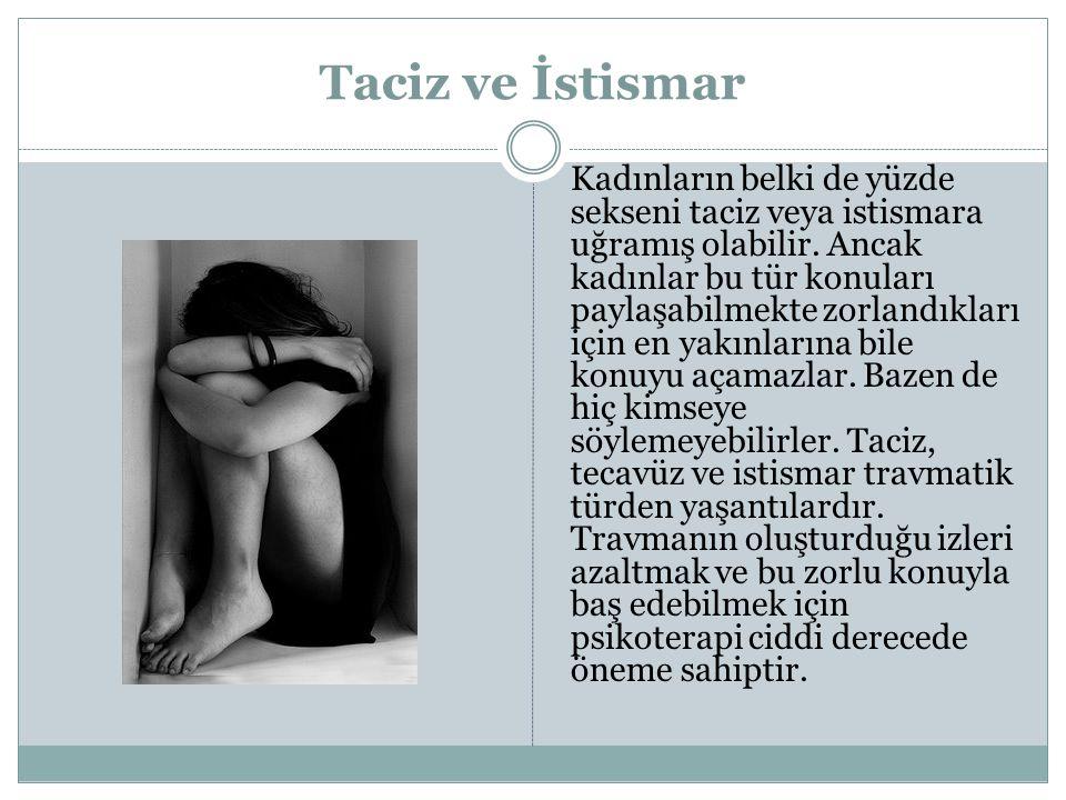 Taciz ve İstismar Kadınların belki de yüzde sekseni taciz veya istismara uğramış olabilir. Ancak kadınlar bu tür konuları paylaşabilmekte zorlandıklar