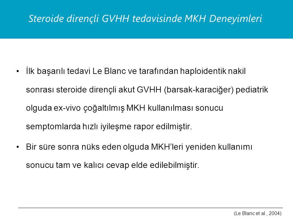 İlk başarılı tedavi Le Blanc ve tarafından haploidentik nakil sonrası steroide dirençli akut GVHH (barsak-karaciğer) pediatrik olguda ex-vivo çoğaltılmış MKH kullanılması sonucu semptomlarda hızlı iyileşme rapor edilmiştir.