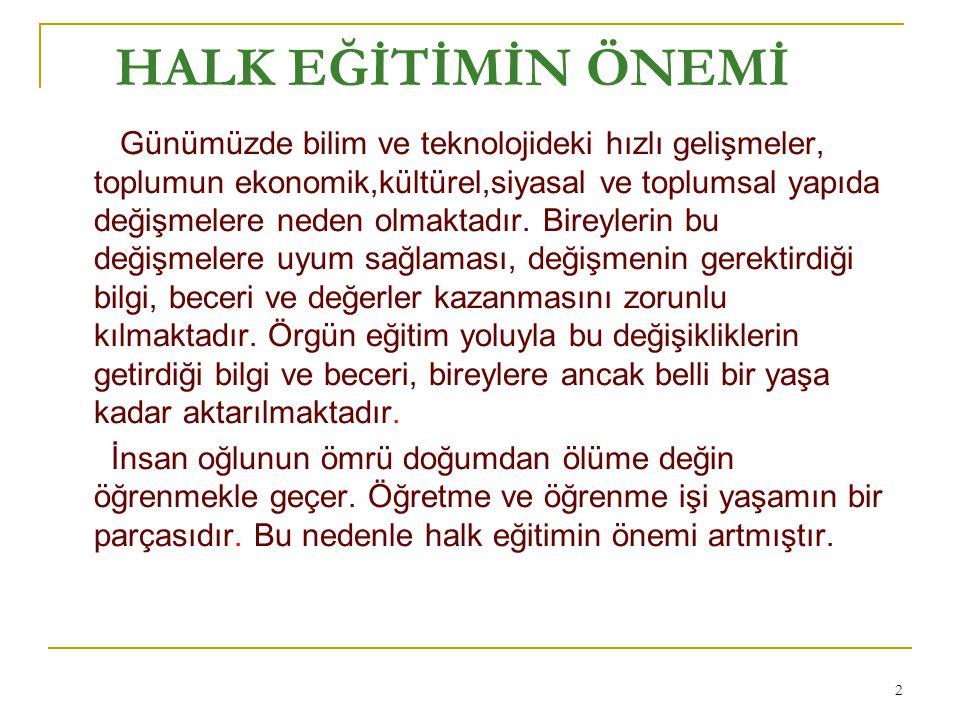 HALK EĞİTİMİNİN AMAÇLARI 1.