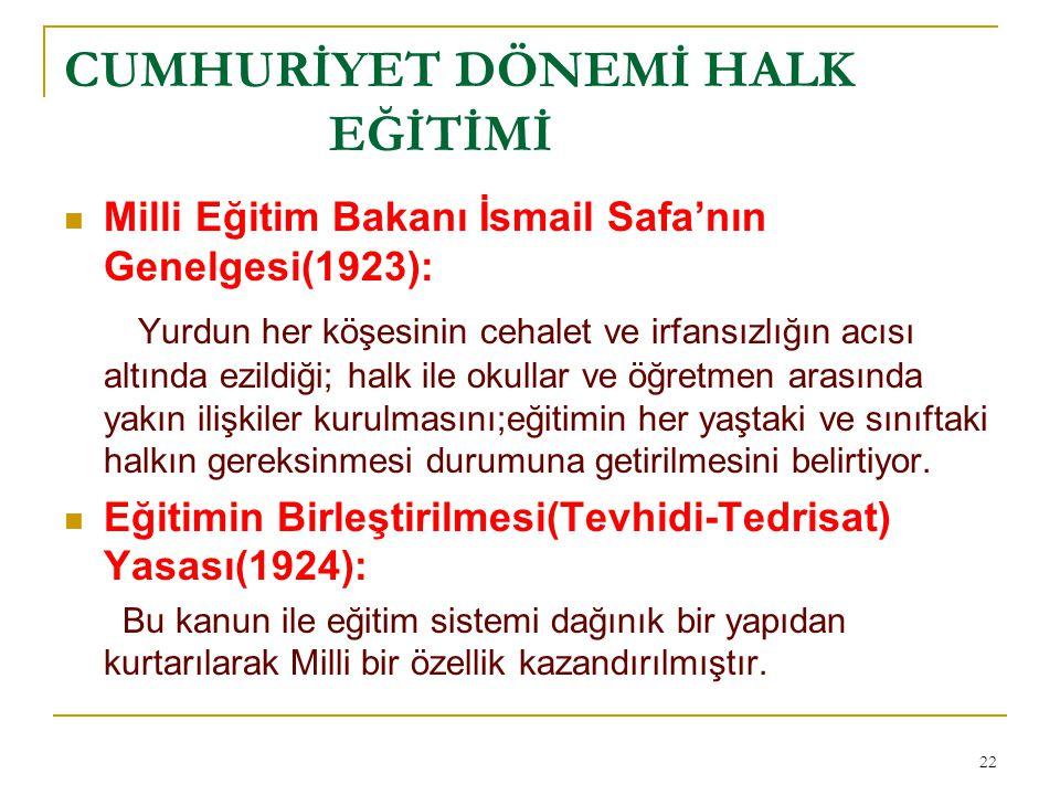 CUMHURİYET DÖNEMİ HALK EĞİTİMİ Milli Eğitim Bakanı İsmail Safa'nın Genelgesi(1923): Yurdun her köşesinin cehalet ve irfansızlığın acısı altında ezildi