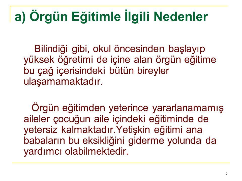 KAYNAKÇA: Akyüz,Yahya,(2004), Türk Eğitim Tarihi,Pegam A Yayıncılık,Ankara Celep,Cevat,(2003), Halk Eğitimi, Anı Yayıncılık,Ankara Kurt,İhsan,(2000),Yetişkin Eğitimi, Nobel Yayıncılık,Ankara Okçabol,Rıfat,(1996),Halk Eğitimi,Der Yayınları,İstanbul.