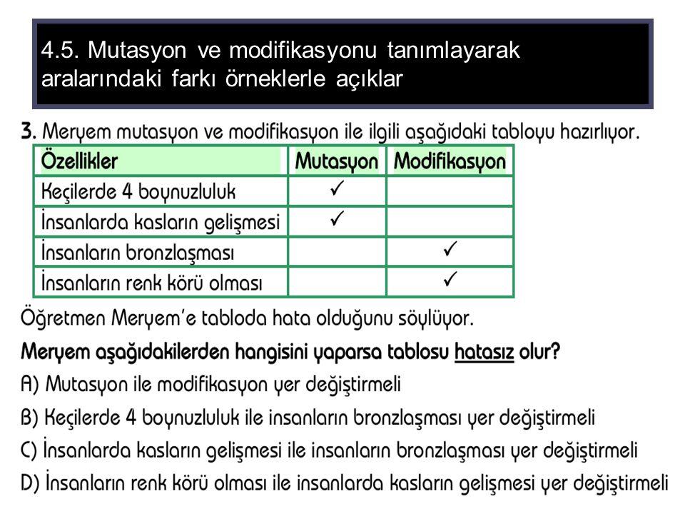 4.5. Mutasyon ve modifikasyonu tanımlayarak aralarındaki farkı örneklerle açıklar