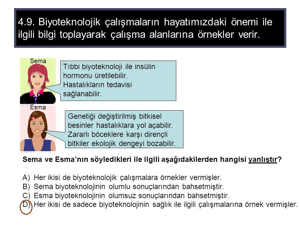 4.9. Biyoteknolojik çalışmaların hayatımızdaki önemi ile ilgili bilgi toplayarak çalışma alanlarına örnekler verir. Tıbbi biyoteknoloji ile insülin ho