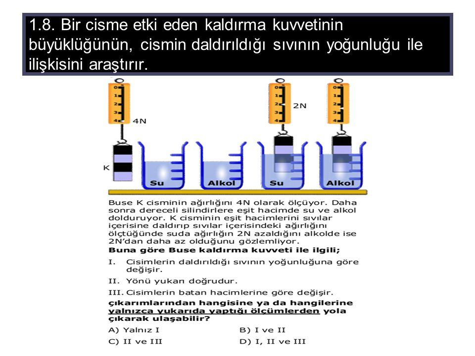 1.8. Bir cisme etki eden kaldırma kuvvetinin büyüklüğünün, cismin daldırıldığı sıvının yoğunluğu ile ilişkisini araştırır.