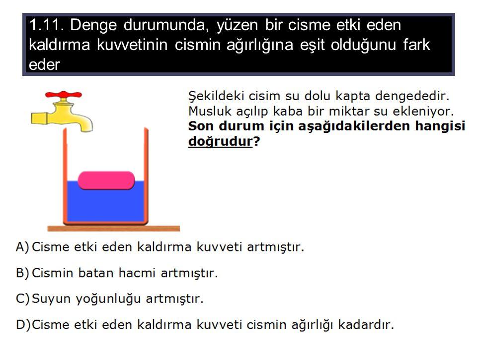 1.11. Denge durumunda, yüzen bir cisme etki eden kaldırma kuvvetinin cismin ağırlığına eşit olduğunu fark eder