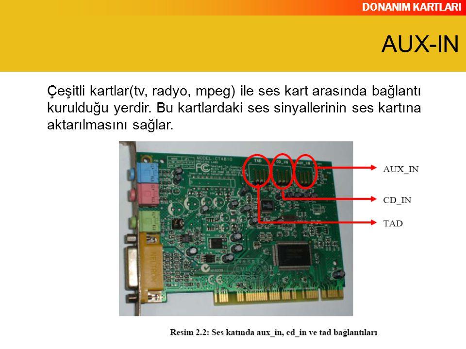 DONANIM KARTLARI Çeşitli kartlar(tv, radyo, mpeg) ile ses kart arasında bağlantı kurulduğu yerdir. Bu kartlardaki ses sinyallerinin ses kartına aktarı