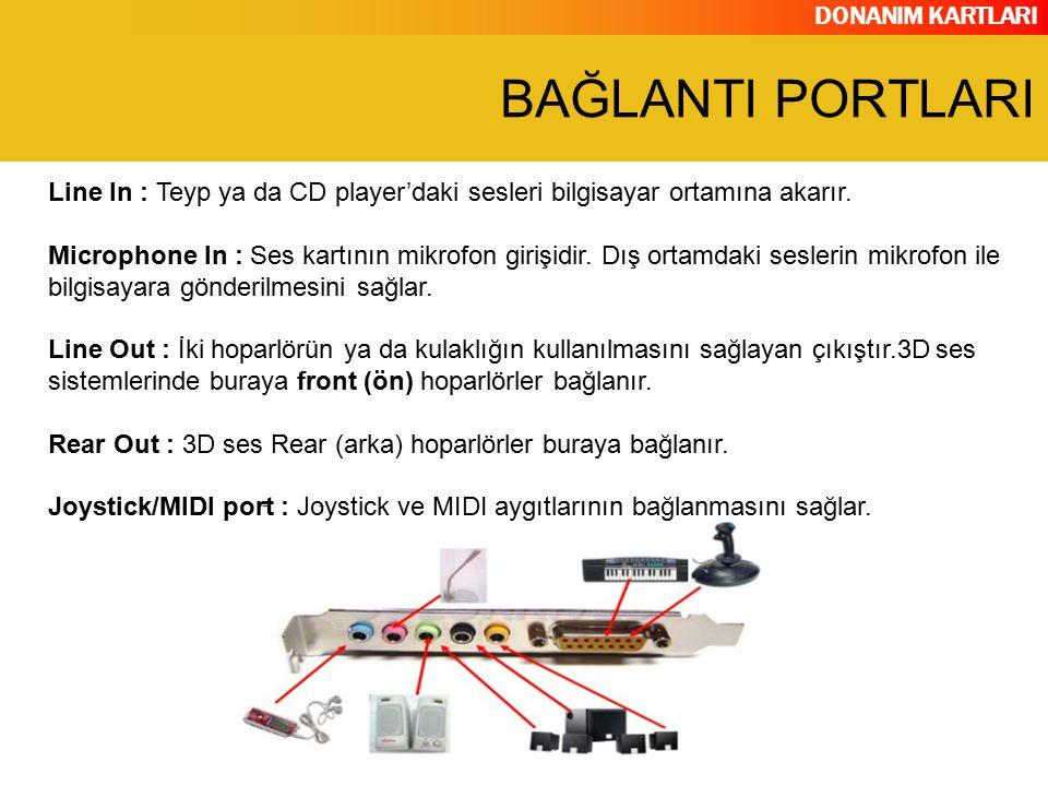 DONANIM KARTLARI Line In : Teyp ya da CD player'daki sesleri bilgisayar ortamına akarır. Microphone In : Ses kartının mikrofon girişidir. Dış ortamdak