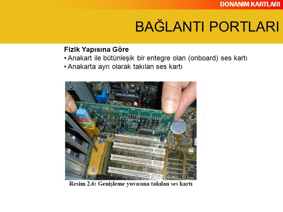 DONANIM KARTLARI Fizik Yapısına Göre Anakart ile bütünleşik bir entegre olan (onboard) ses kartı Anakarta ayrı olarak takılan ses kartı BAĞLANTI PORTL
