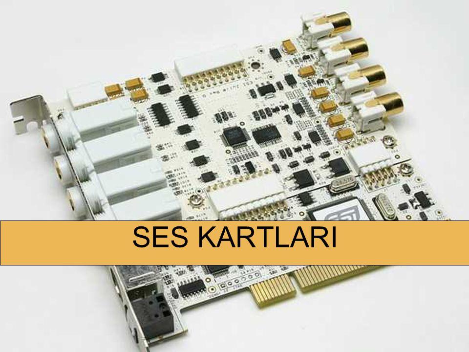 DONANIM KARTLARI Ses kartı bilgisayardaki dijital ses verilerini analog ses sinyallere, analog ses sinyallerini de bilgisayarda işlenebilecek dijital sinyallere dönüştürür.