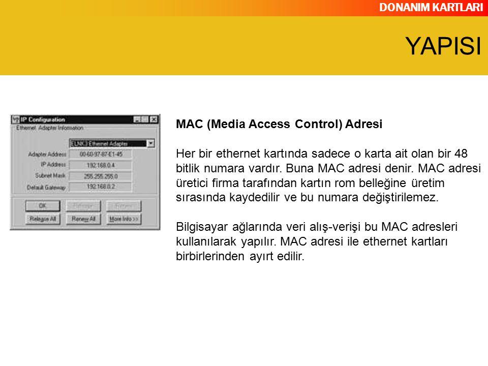 DONANIM KARTLARI MAC (Media Access Control) Adresi Her bir ethernet kartında sadece o karta ait olan bir 48 bitlik numara vardır. Buna MAC adresi deni
