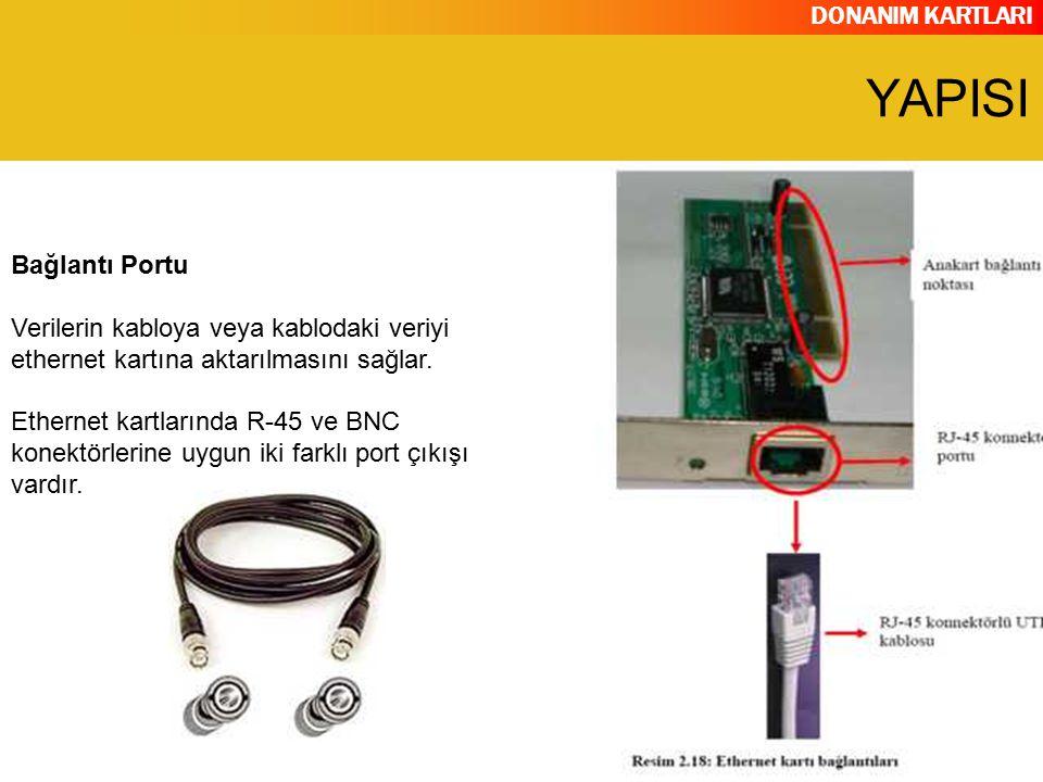 DONANIM KARTLARI Bağlantı Portu Verilerin kabloya veya kablodaki veriyi ethernet kartına aktarılmasını sağlar. Ethernet kartlarında R-45 ve BNC konekt