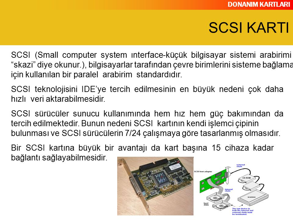 """DONANIM KARTLARI SCSI (Small computer system ınterface-küçük bilgisayar sistemi arabirimi """"skazi"""" diye okunur.), bilgisayarlar tarafından çevre biriml"""