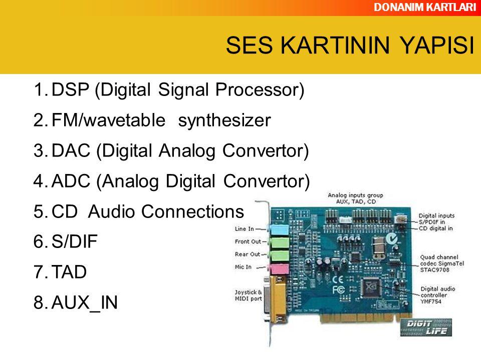 DONANIM KARTLARI 1.DSP (Digital Signal Processor) 2.FM/wavetable synthesizer 3.DAC (Digital Analog Convertor) 4.ADC (Analog Digital Convertor) 5.CD Au
