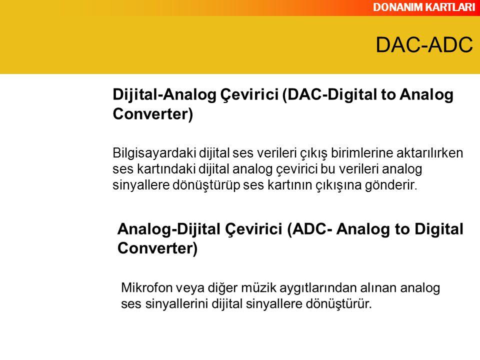 DONANIM KARTLARI Bilgisayardaki dijital ses verileri çıkış birimlerine aktarılırken ses kartındaki dijital analog çevirici bu verileri analog sinyalle