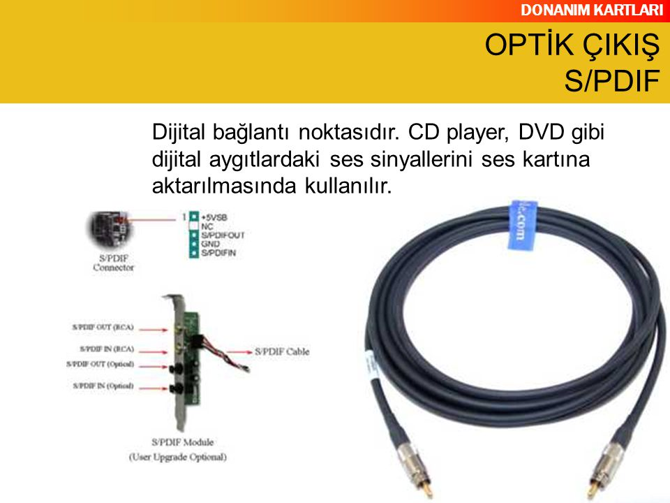 DONANIM KARTLARI OPTİK ÇIKIŞ S/PDIF