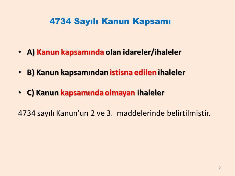 4734 Sayılı Kanun Kapsamı A) Kanun kapsamında olan idareler/ihaleler A) Kanun kapsamında olan idareler/ihaleler B) Kanun kapsamından istisna edilen ih