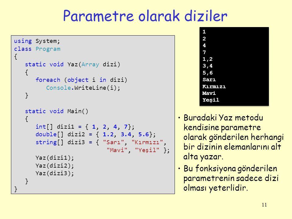 Parametre olarak diziler 11 using System; class Program { static void Yaz(Array dizi) { foreach (object i in dizi) Console.WriteLine(i); } static void