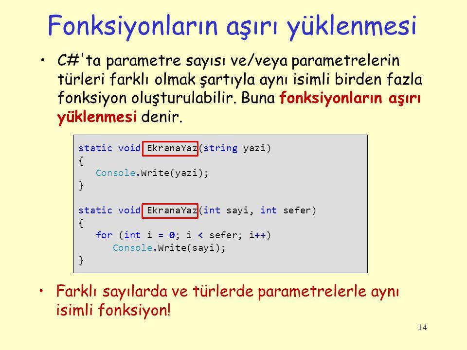Fonksiyonların aşırı yüklenmesi C#'ta parametre sayısı ve/veya parametrelerin türleri farklı olmak şartıyla aynı isimli birden fazla fonksiyon oluştur